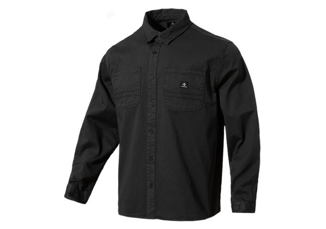 WOVEN BUTTON DOWN WASHED BLACK