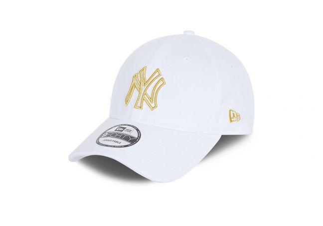 NEW YORK YANKEES METALLIC LOGO WHITE 9FORTY CAP