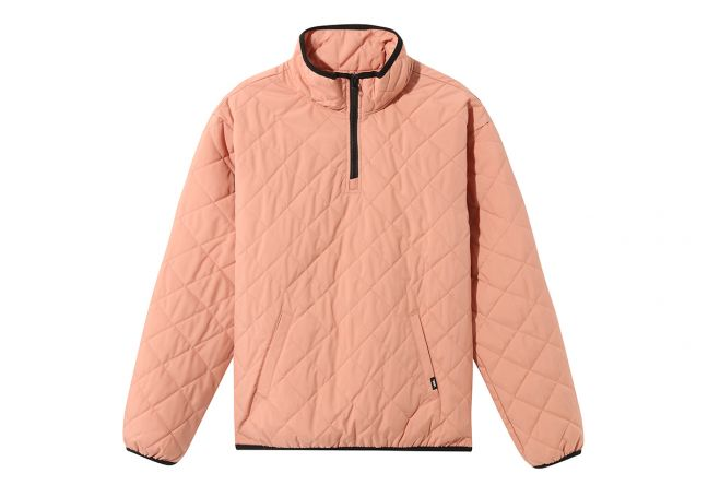 WM QUILTED V MOCK ANORAK ROSE DAWN